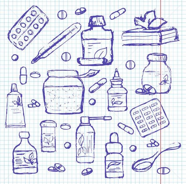 Ilaçlar defter kroki stil tıbbi yaprak Stok fotoğraf © Arkadivna