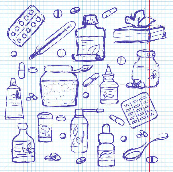 Drogok notebook rajz stílus orvosi levél Stock fotó © Arkadivna