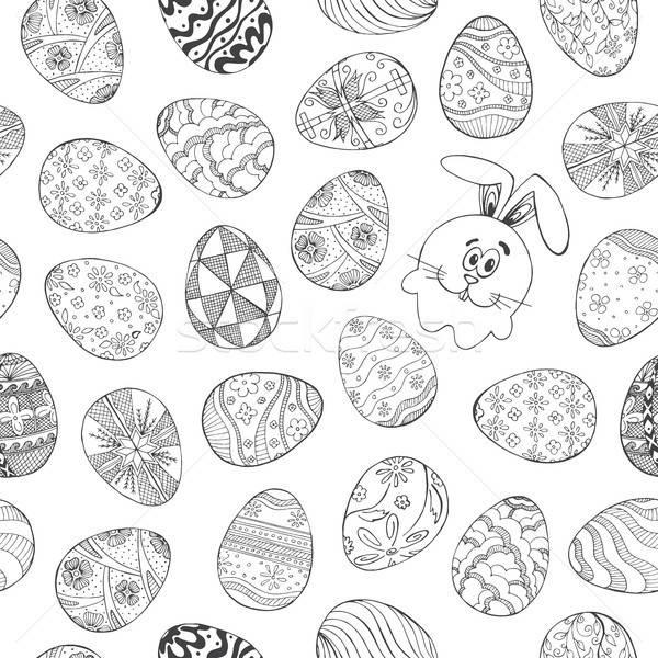 Différent œufs de Pâques lapin croquis style Photo stock © Arkadivna