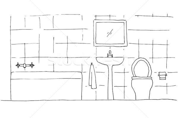 Kroki doğrusal iç banyo duvar Stok fotoğraf © Arkadivna