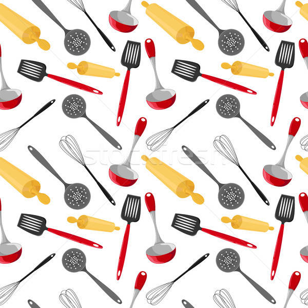 Seamless pattern with utensils in a cartoon style. Bright kitchen cookware. Stock photo © Arkadivna