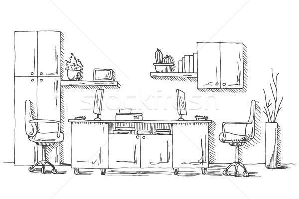 Açmak uzay ofis açık havada sandalye kroki Stok fotoğraf © Arkadivna