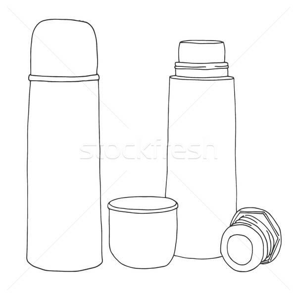 Schets geïsoleerd witte koffie reizen fles Stockfoto © Arkadivna