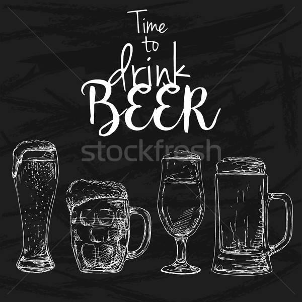 пива рисунок мелом доске подпись время Сток-фото © Arkadivna