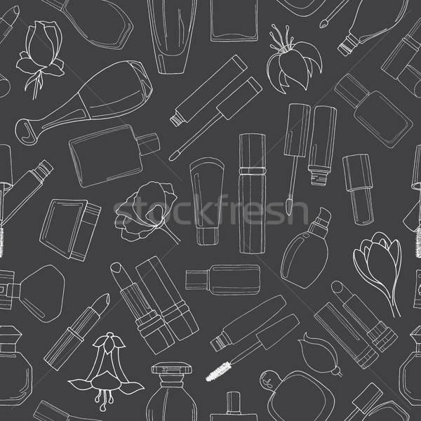 Végtelen minta kozmetika smink krém rajz stílus Stock fotó © Arkadivna