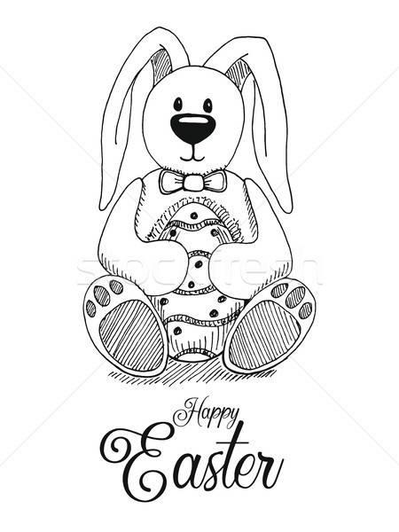 Rajz húsvéti nyuszi húsvéti tojás vektor kellemes húsvétot húsvét Stock fotó © Arkadivna