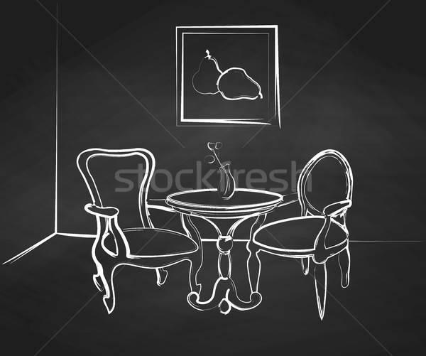 эскиз комнату дизайна таблице два стульев Сток-фото © Arkadivna