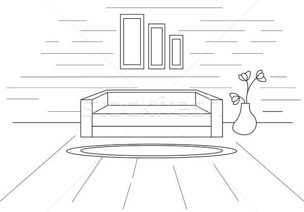Modern interior. In front of the sofa is a carpet. Vector illustration in a linear style. Stock photo © Arkadivna