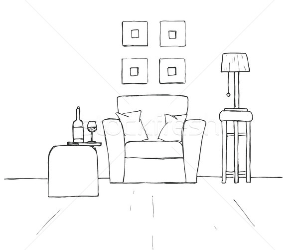 Armchair, coffee table with a glass and bottle. Lamp on a high stool. Hand drawn vector illustration Stock photo © Arkadivna