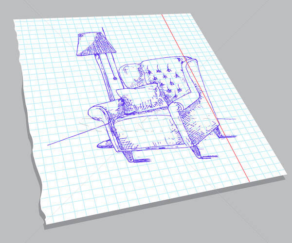 Hand drawn sketch of the interior on a notebook sheet. Soft armchair with a pillow, a lamp on the fl Stock photo © Arkadivna