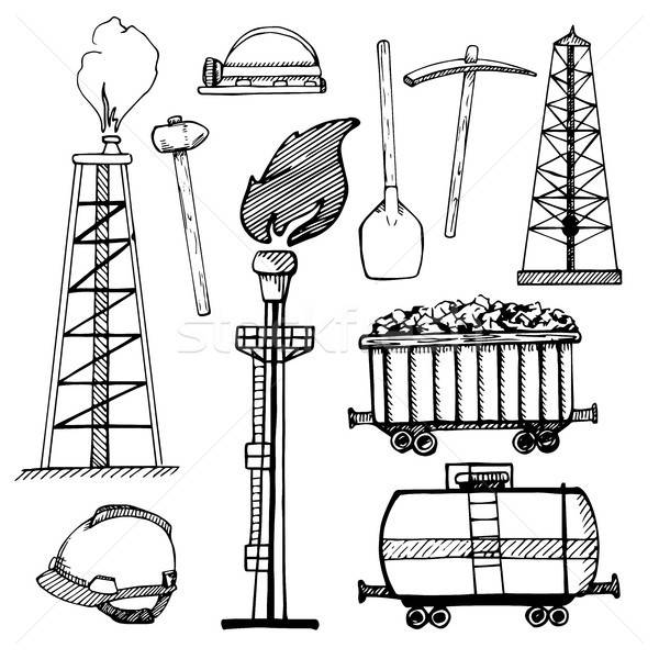 Industrial sketch icons. Industrial objects isolated on white background. Vector illustration. Stock photo © Arkadivna