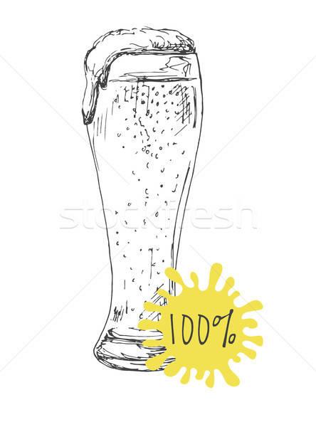 Kézzel rajzolt üveg sör izolált fehér rajz Stock fotó © Arkadivna