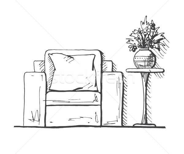 élevé table vase fleurs dessinés à la main intérieur Photo stock © Arkadivna