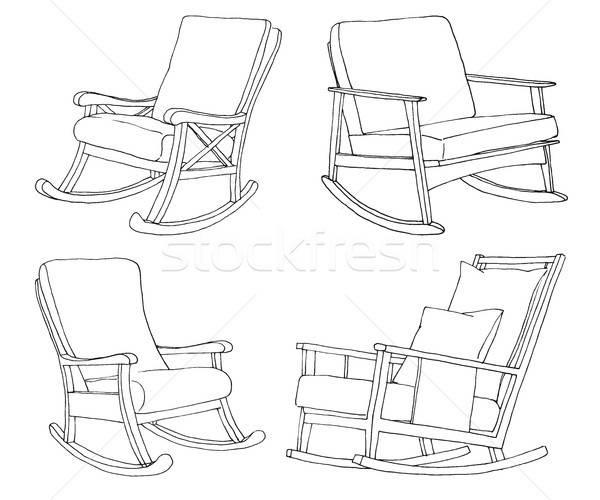 Ayarlamak sandalye yalıtılmış beyaz kroki rahat Stok fotoğraf © Arkadivna