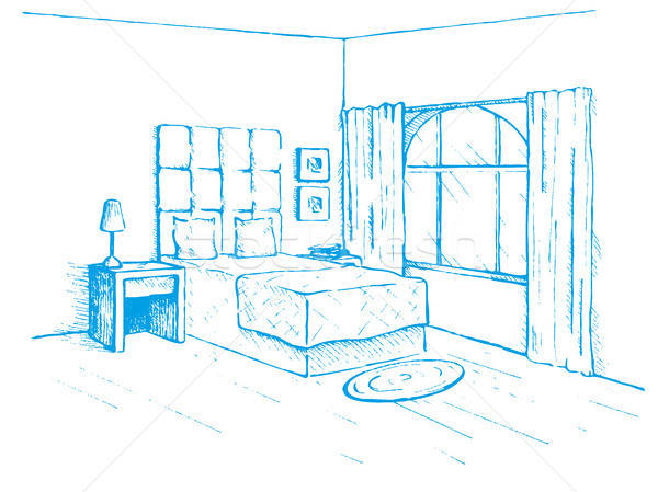 Sketch drawn by a blue pen. Room plan. Sketch Line bedrooms. Vector illustration. Stock photo © Arkadivna