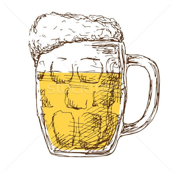 Bögre sör izolált fehér rajz stílus Stock fotó © Arkadivna