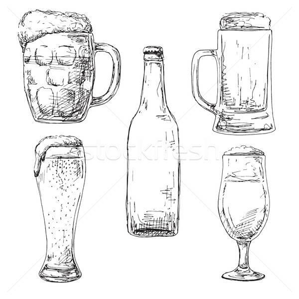 Fles bier verschillend bril schets stijl Stockfoto © Arkadivna