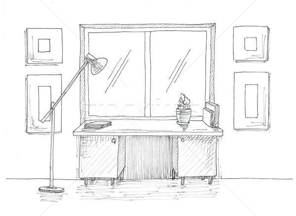 Table by the window. Floor lamp next to the table. Sketch of the interior in black ink. Stock photo © Arkadivna