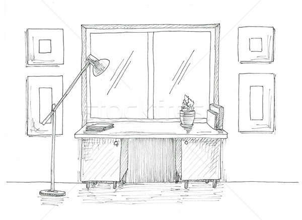 Table fenêtre étage lampe croquis intérieur Photo stock © Arkadivna