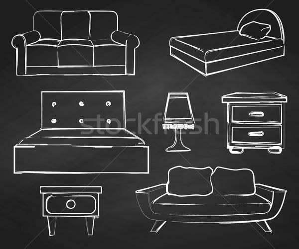 Kroki ayarlamak yalıtılmış mobilya tebeşir Stok fotoğraf © Arkadivna