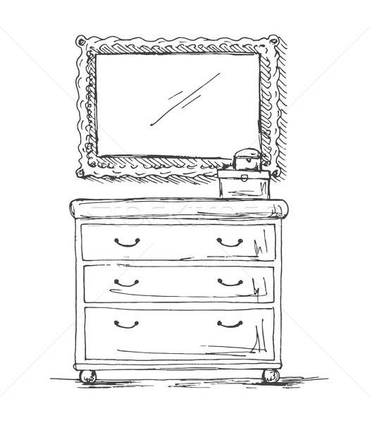 Poitrine tiroirs miroir décoration croquis style Photo stock © Arkadivna