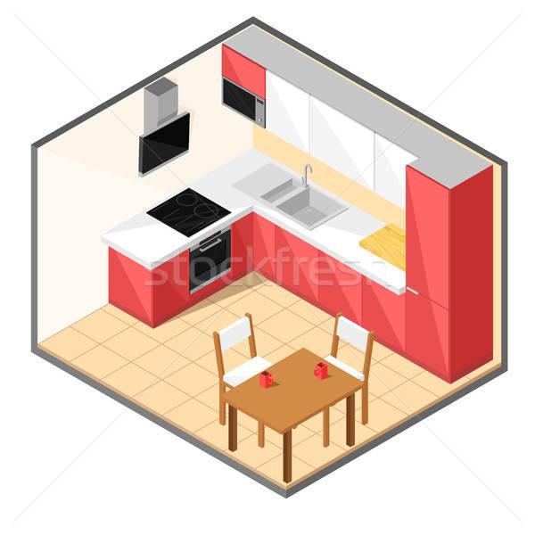 Kırmızı mutfak izometrik stil ev oda Stok fotoğraf © Arkadivna