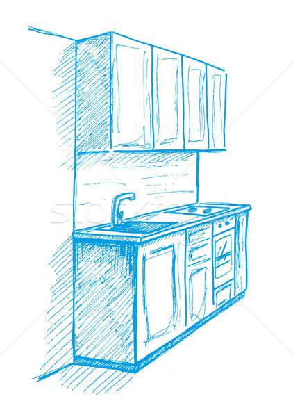 Cozinha mobiliário esboço azul Foto stock © Arkadivna