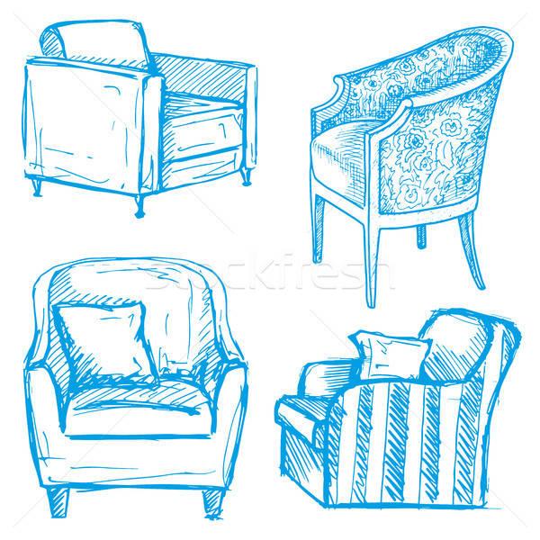 Ingesteld geïsoleerd witte illustratie schets stijl Stockfoto © Arkadivna