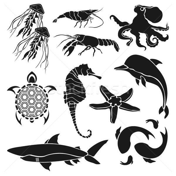 Noir silhouettes mer créatures crevettes Photo stock © Arkadivna