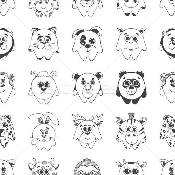 Différent animaux mignons modèle décoration croquis Photo stock © Arkadivna