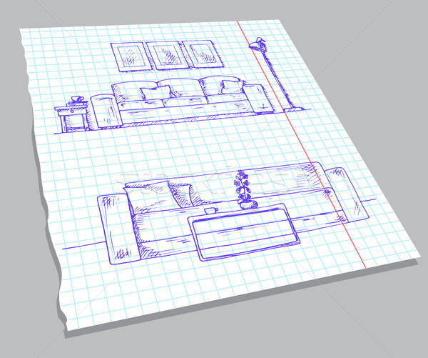 Hand drawn sketch of the interior on a notebook sheet. Part of the room. Hand drawn vector illustrat Stock photo © Arkadivna