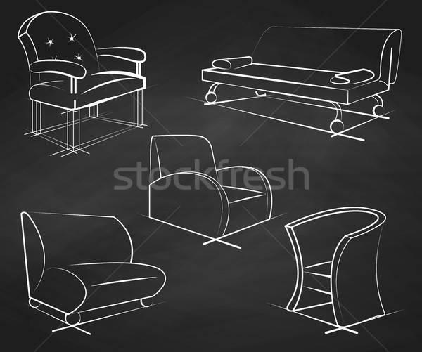 Conjunto giz ilustração esboço estilo Foto stock © Arkadivna