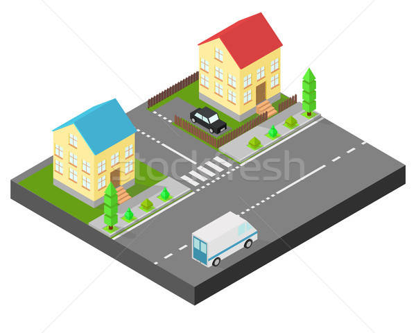 Isometric house. Two houses on the same street. Sidewalk with trees, the road the car. The yard is f Stock photo © Arkadivna