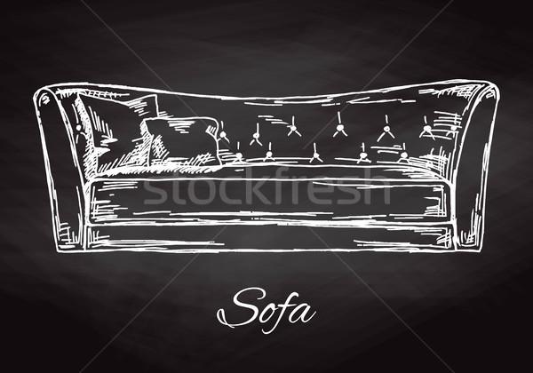 Sofá isolado quadro-negro esboço estilo mão Foto stock © Arkadivna