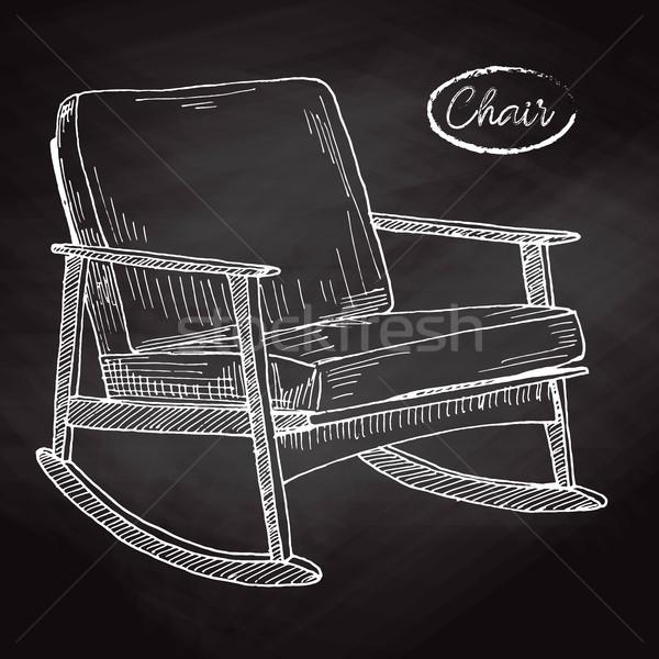 Schommelstoel schets comfortabel stoel huis ontspannen Stockfoto © Arkadivna