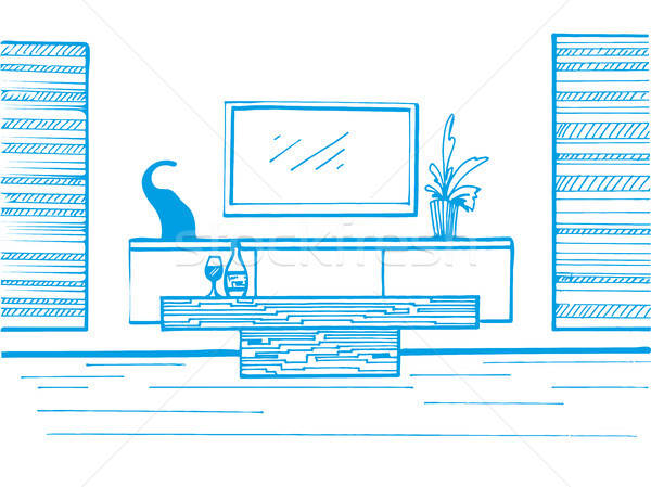 Hand drawn sketch. Linear sketch of the interior. TV, TV table, table and decor. Vector illustration Stock photo © Arkadivna