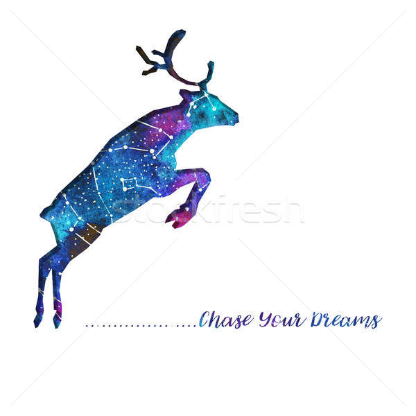 Silhouette of deer cut out of paper. Starry sky with different constellations. Hand draw watercolor. Stock photo © Arkadivna