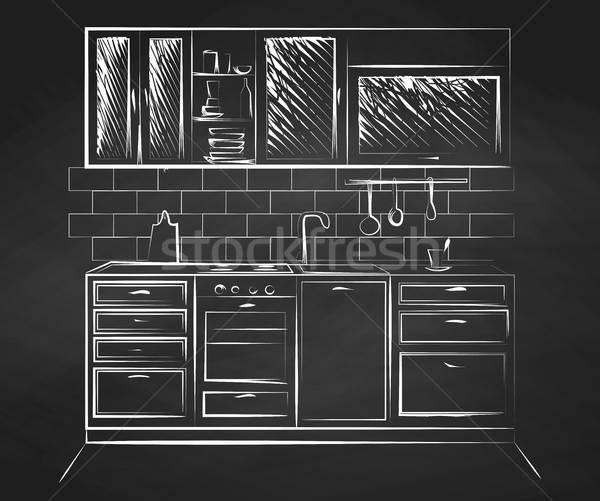 Stok fotoğraf: Kroki · mutfak · stil · ev · duvar · dizayn