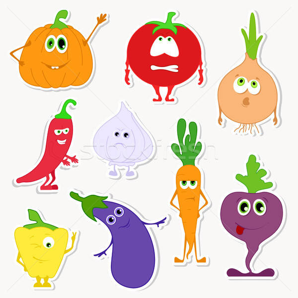 Different funny vegetables in a cartoon style. Set of stickers in cartoon style. Stock photo © Arkadivna