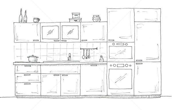 Kézzel rajzolt konyha bútor rajz toll ház Stock fotó © Arkadivna