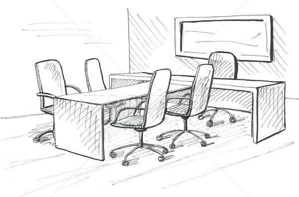 Escritório esboço estilo mobiliário computador Foto stock © Arkadivna