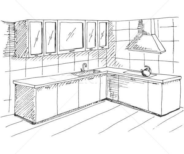手描き スケッチ インテリア クイック 図面 キッチン ストックフォト © Arkadivna