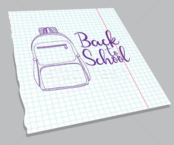 Rugzak notebook vel opschrift terug naar school Stockfoto © Arkadivna