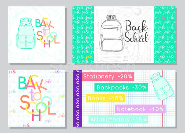 Set of cards for a school sale. Hand drawn school supplies. Vector illustration in sketch style Stock photo © Arkadivna