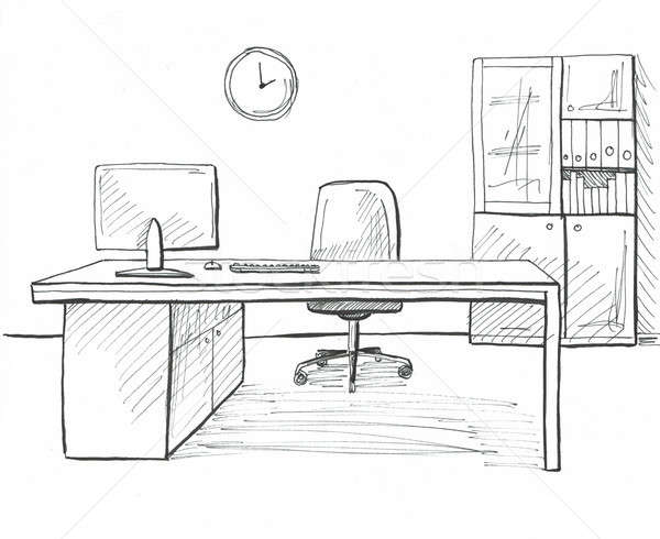 Bureau croquis style dessinés à la main meubles ordinateur Photo stock © Arkadivna