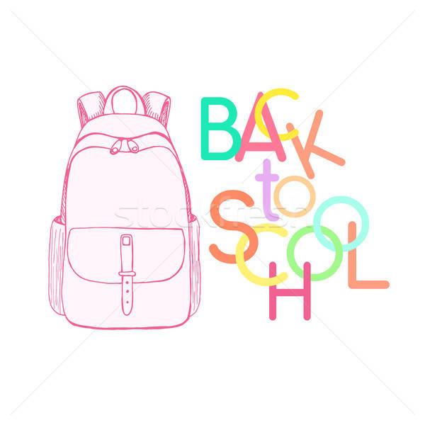 Roze rugzak opschrift terug naar school schets Stockfoto © Arkadivna