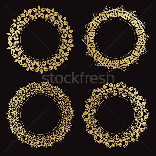 Ingesteld frames vintage goud zwarte Stockfoto © Arkadivna