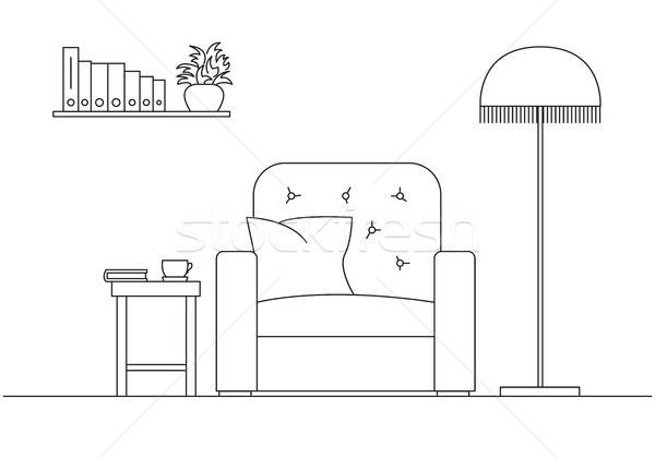 Armchair, next to a floor lamp. Shelf with books, frames on the wall. Linear sketch of the interior  Stock photo © Arkadivna