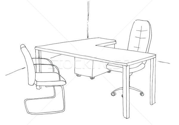 Hand drawn office desk, office chair. Vector illustration. Stock photo © Arkadivna
