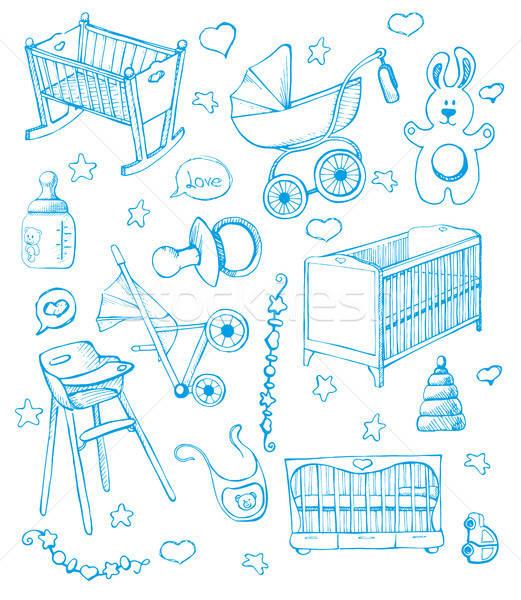 Stockfoto: Ingesteld · meubels · schets · verschillend · kind · hand